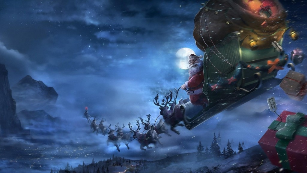 Christmas wallpaper santa_claus_reindeer_sleigh_flying_gifts_christmas_68922_1366x768