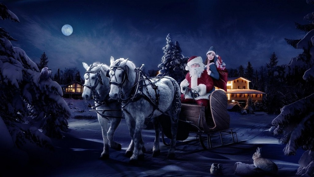 Christmas wallpaper santa_claus_sleigh_girl_horse_tree_night_christmas_bag_gifts_41105_1366x768