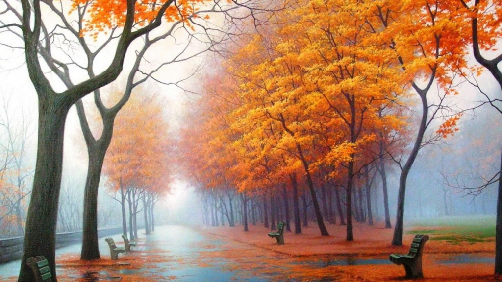 Desktop Fall Background Wallpaper HD 1366x768 autumn_park_avenue_benches_trees_leaf_fall_fog_steam_haze_path_asphalt_painting_art_