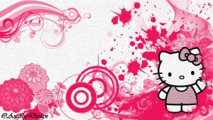 Hello kitty kertas hias dinding HD