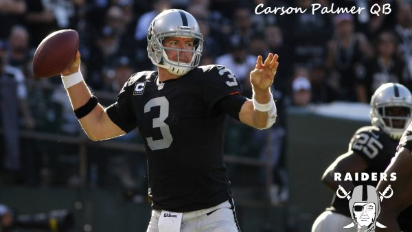 November 4, 2012; Oakland, CA, USA; Oakland Raiders quarterback Carson Palmer (3) prepares to throw a pass against the Tampa Bay Buccaneers in the second quarter at O.co Coliseum. The Buccaneers defeated the Raiders 42-32. Mandatory Credit: Cary Edmondson-US PRESSWIRE ORG XMIT: USPW-81992 ORIG FILE ID:  20121104_kdl_se4_062.JPG