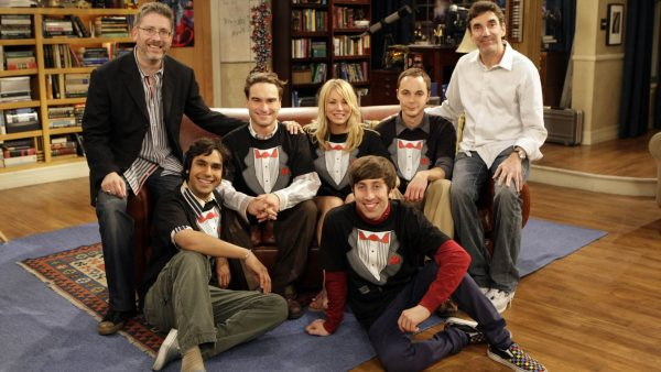 """The Tangerine Factor"" -- The cast of THE BIG BANG THEORY - Kunal Nayyar (second to the left), Johnny Galecki (third from left), Kaley Cuoco (center), Jim Parsons (second from right) and Simon Helberg (foreground, right) - on set with executive producers Bill Prady (far left) and Chuck Lorre (far right).  The first season finale of THE BIG BANG THEORY, Monday, May 19 (8:00-8:30pm ET/PT) on the CBS Television Network. Photo: Sonja Flemming/CBS (C)2008 CBS Broadcasting Inc. All Rights Reserved."