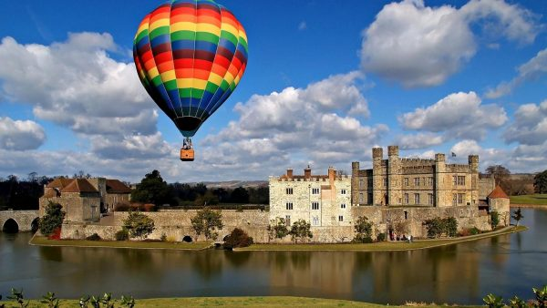 Hot Air Balloon Above Leeds Castle In Engl HD Desktop Background