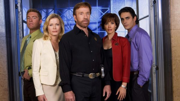 Judson Mills (far left), Sheree J. Wilson (left of center) and Chuck Norris (center) reprise their roles in WALKER, TEXAS RANGER: TRIAL BY FIRE. Janine Turner (right of center) plays a forensics expert and Andre Kristoff (far right) plays Ranger Rhett Harper in WALKER, TEXAS RANGER: TRIAL BY FIRE, a new television movie to be broadcast as the