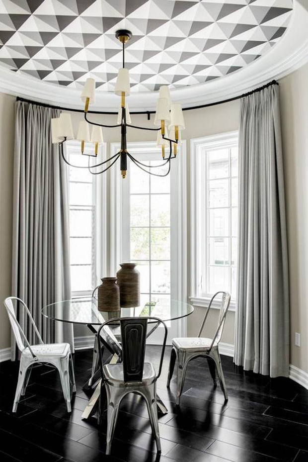 A-Cole-Son-geometric-pattern-highlights-the-ceiling-in-this-circular-breakfast-nook-wallpaper-wp5203656