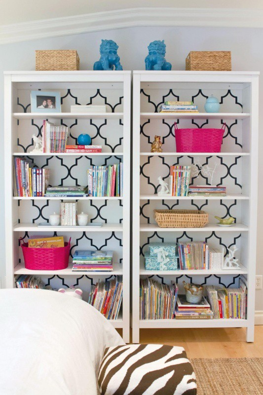 A-Fabulous-DIY-Bookcase-paint-bookshelf-modpodge-wrapping-paper-on-the-back-of-the-shelves-paint-wallpaper-wp5203660