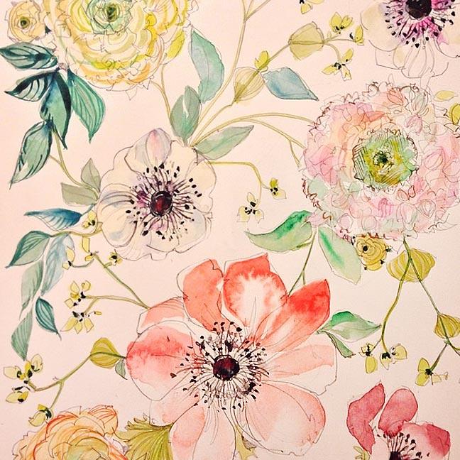 A-Peek-into-the-Studio-%E2%80%93-Watercolor-Floral-Patterns-wallpaper-wp5004209