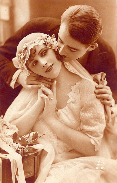 A-beguilingly-beautiful-young-French-bride-and-her-adoring-husband-French-wedding-vintage-s-wallpaper-wp5402936