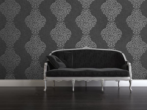 A-charismatic-charcoal-and-silver-with-a-glamorous-scale-and-cultured-damask-motif-This-s-wallpaper-wp5004171