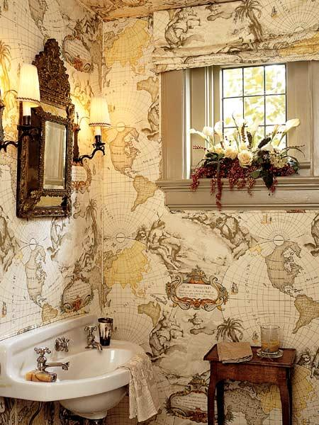 A-map-print-toile-is-used-on-walls-and-as-window-treatment-of-this-powder-room-designer-Mary-Evelyn-wallpaper-wp5004202