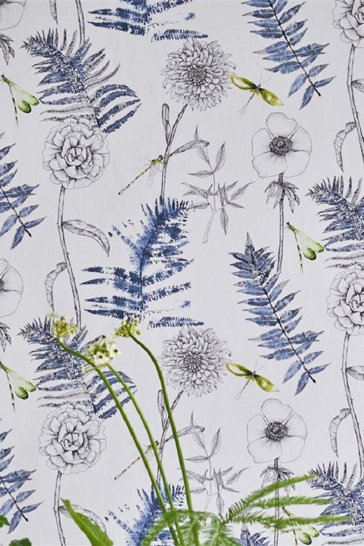 A-stunning-botanical-design-featuring-beautifully-illustrated-flowers-ferns-and-dragonflies-with-a-wallpaper-wp423380