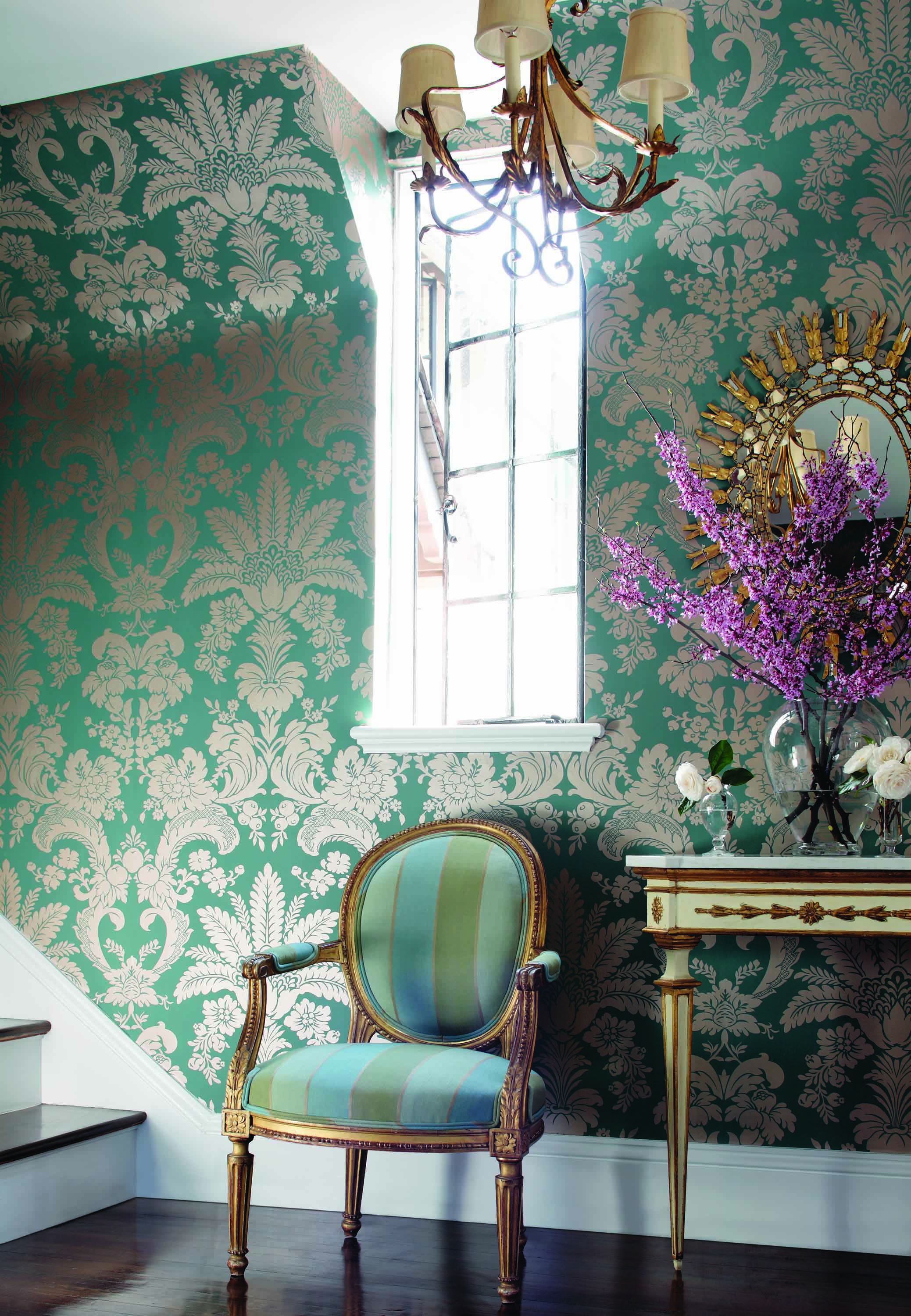 Addison-Damask-in-metallic-on-turquoise-from-the-River-Road-collection-Thibaut-wallpaper-wp3003013