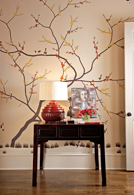 An-artisan-painted-wall-covering-from-Fromental-Chinese-Sparrow-that-depicts-cherry-blossom-wallpaper-wp5203149