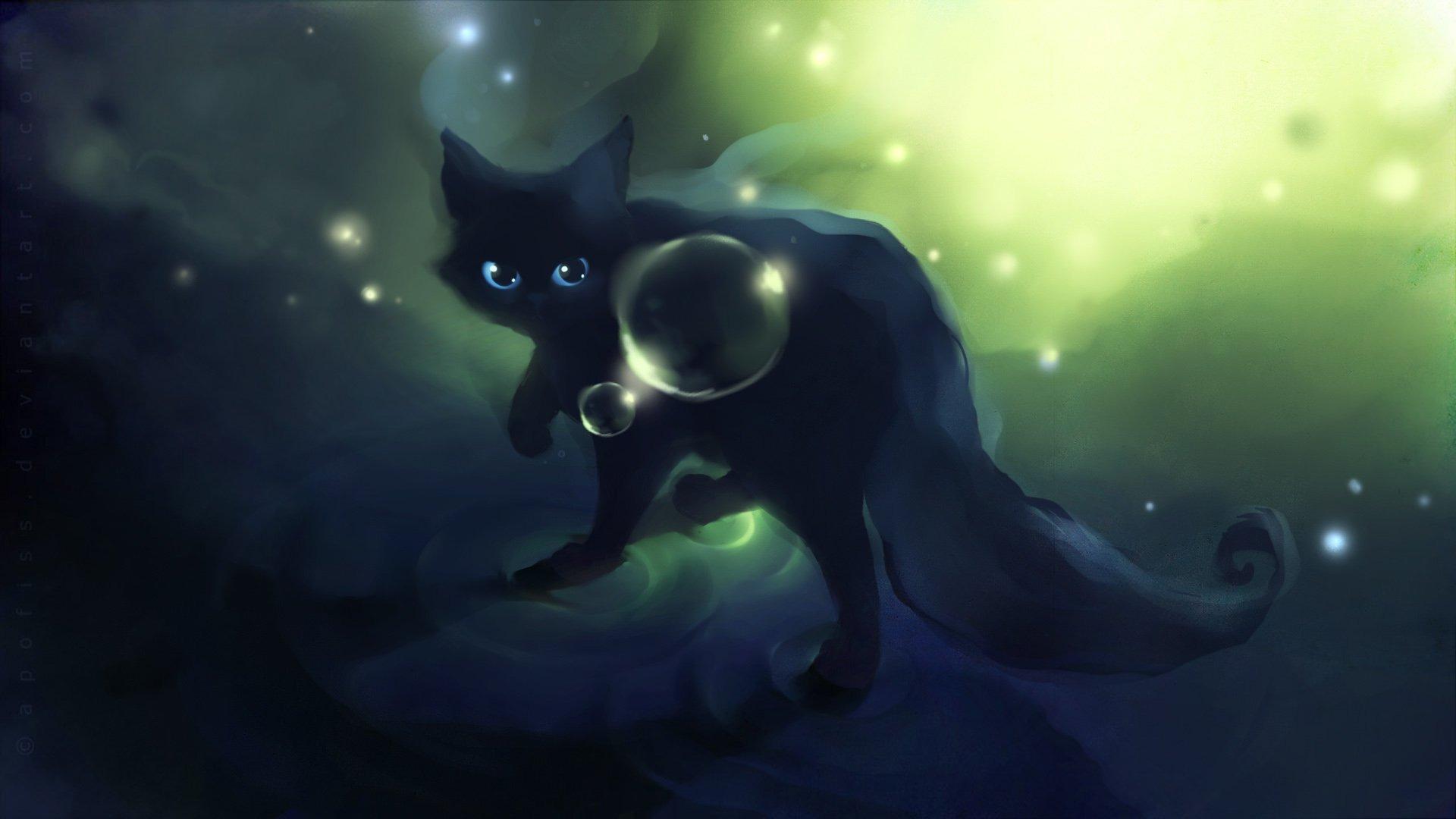 Apofiss-small-black-cat-watercolor-illustrations-1920x1080-wallpaper-wp3602641