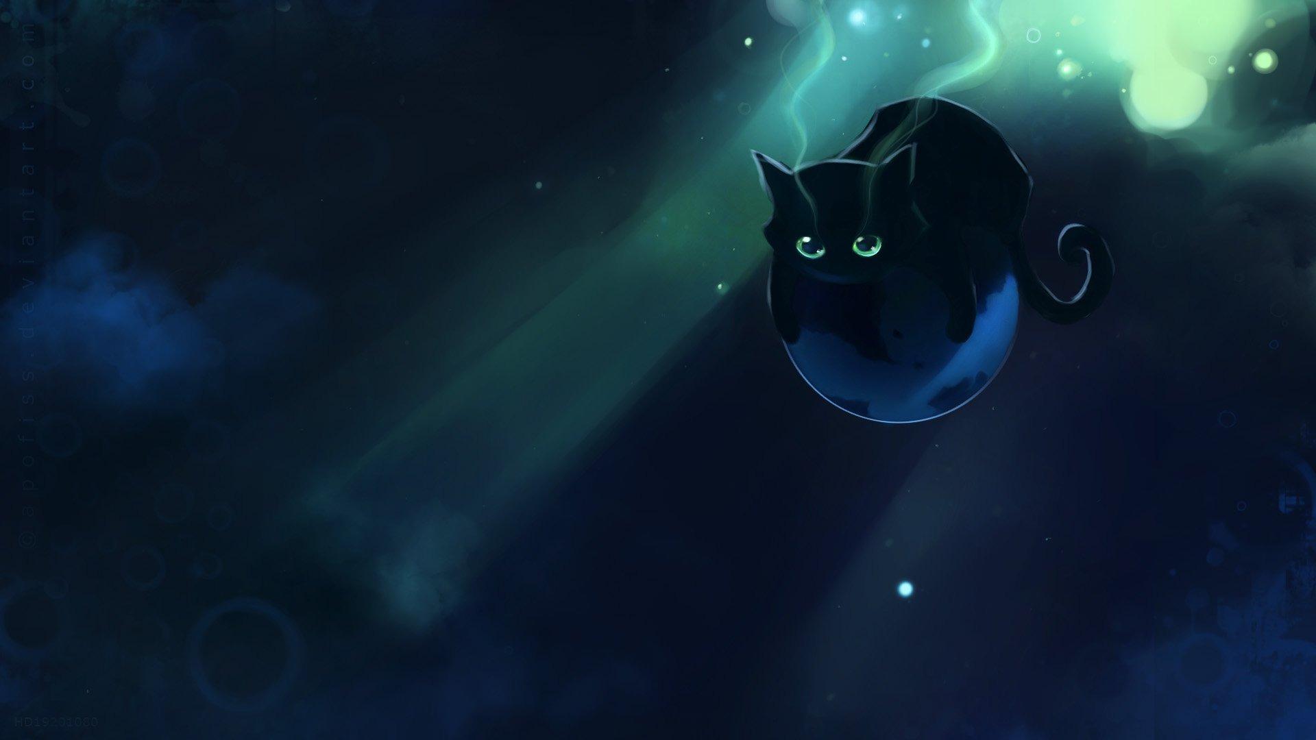 Apofiss-small-black-cat-watercolor-illustrations-1920x1080-wallpaper-wp3602642
