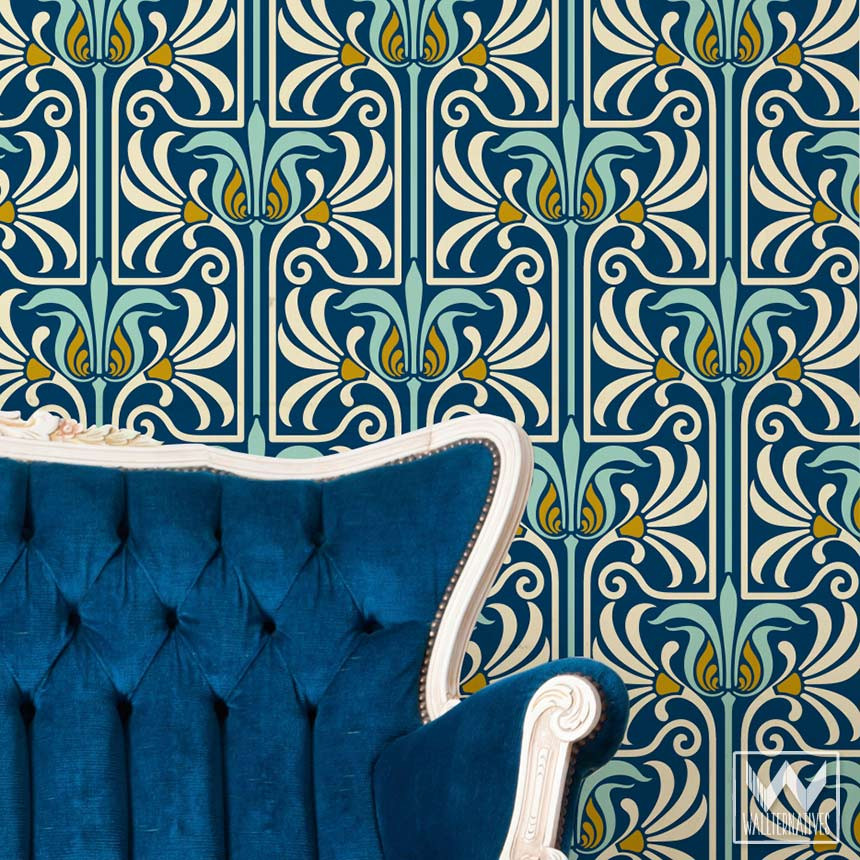 Art-Deco-and-Art-Nouveau-Wall-Murals-Retro-Feather-Damask-Peel-an-wallpaper-wp5803633