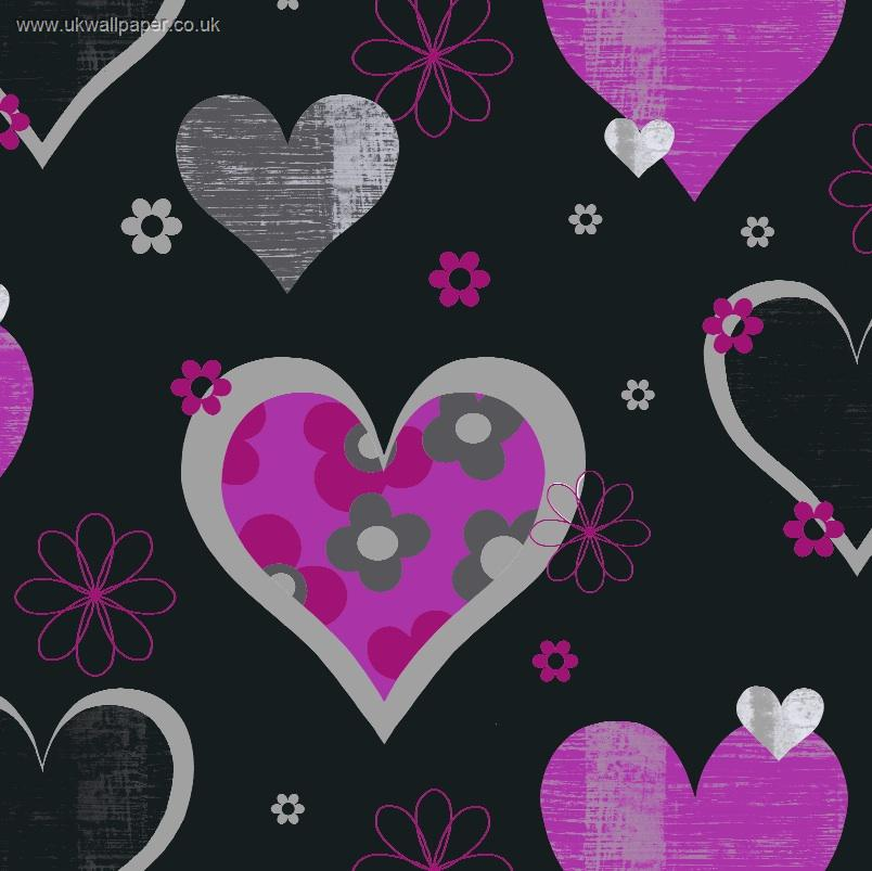 Arthouse-Happy-Hearts-Black-and-Pink-wallpaper-wp3003324