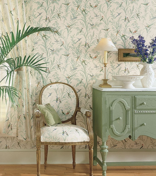 Augustine-A-printed-on-a-pale-blue-background-featuring-colourful-birds-amongst-wallpaper-wp42151-1