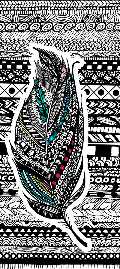 Aztec-Feather-Art-Print-by-GoldenFoxDesigns-Society-wallpaper-wp4404725