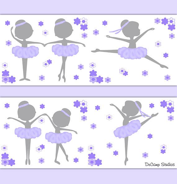 BALLERINA-NURSERY-DECOR-Border-Lavender-Wall-Art-wallpaper-wp5204383