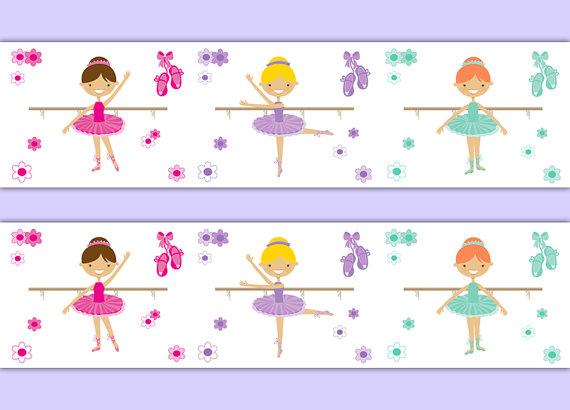 BALLERINA-ROOM-DECOR-Girl-Nursery-Border-Wall-Art-Decals-Baby-Dancer-Shower-Gift-Stickers-wallpaper-wp5204385