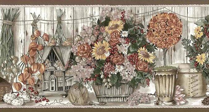 BIRDHOUSE-Taupe-Gray-Border-FLORAL-Daisies-Roses-International-H-International-wallp-wallpaper-wp4405112