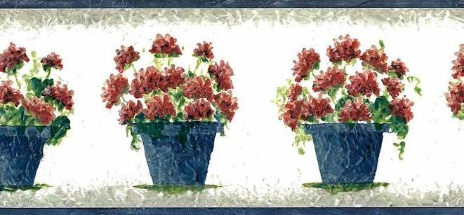 BORDER-RED-GERANIUMS-FLORAL-BLUE-POTS-FAUX-TEXTURE-GREEN-LEAVES-WHITE-Warner-Vintagecott-wallpaper-wp44012716