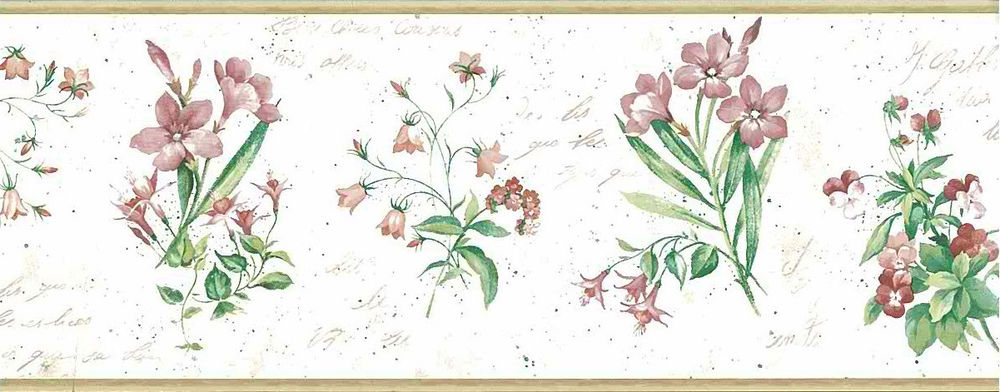 BOTANICAL-FLORAL-French-Script-Pink-Green-UK-Border-Gallery-A-Gallery-Cottage-vi-wallpaper-wp4405290