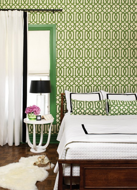 Bedroom-with-Green-and-Cream-Patterned-Wa-wallpaper-wp5803928