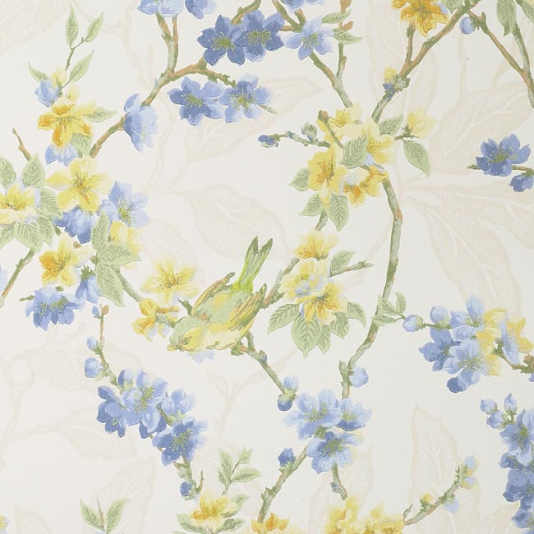 Birdsong-of-small-birds-on-blue-and-yellow-blossom-on-off-white-background-wallpaper-wp424122-1