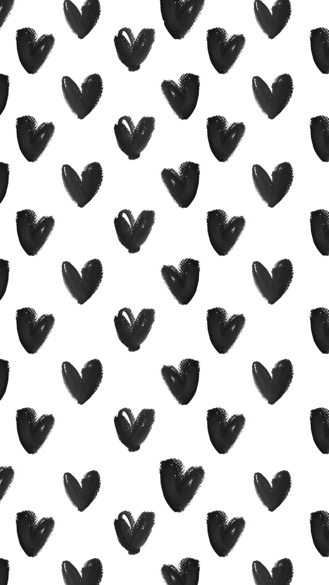 Black-White-watercolour-hearts-iphone-background-phone-lock-screen-wallpaper-wp3403346