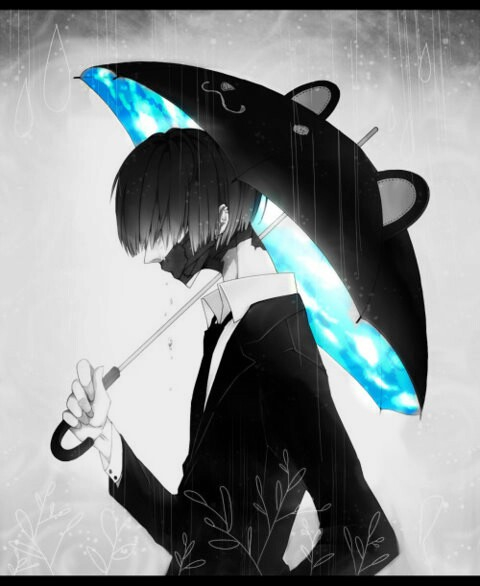 Black-and-white-anime-guy-with-black-mask-and-black-bear-umbrella-with-Bright-blue-pattern-for-the-i-wallpaper-wp5603429