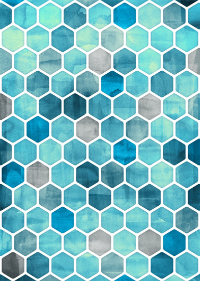 Blue-Ink-watercolor-hexagon-pattern-Art-Print-wallpaper-wp3003800