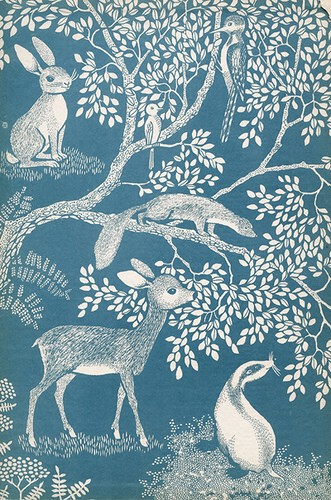 Blue-White-Woodland-Residents-Fabric-or-wallpaper-wp5005333