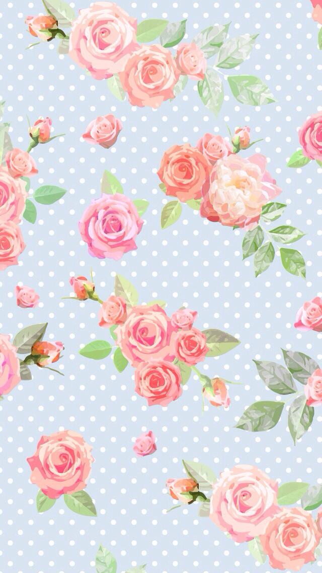 Blue-vintage-Floral-dots-iphone-phone-background-wallpaper-wp5804129