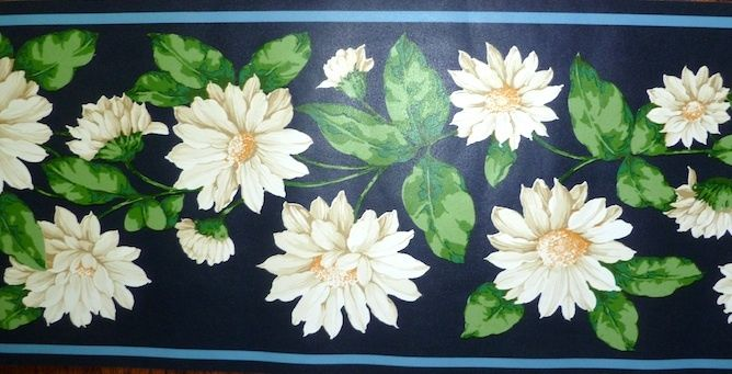 Border-Floral-Shasta-Daisies-Vintage-Navy-Blue-Green-White-Yellow-Wallquest-Countrycott-wallpaper-wp44012715