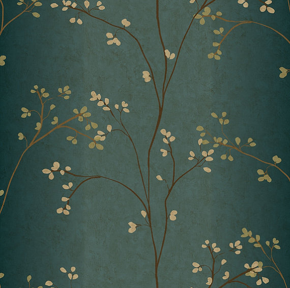 Budding-Branches-on-Tranquil-Blue-Green-Rubbed-Tapestry-Faux-wallpaper-wp540144
