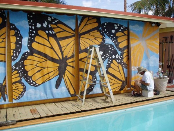 Butterfly-mural-painted-on-sun-screen-fabric-for-shade-wallpaper-wp3004022