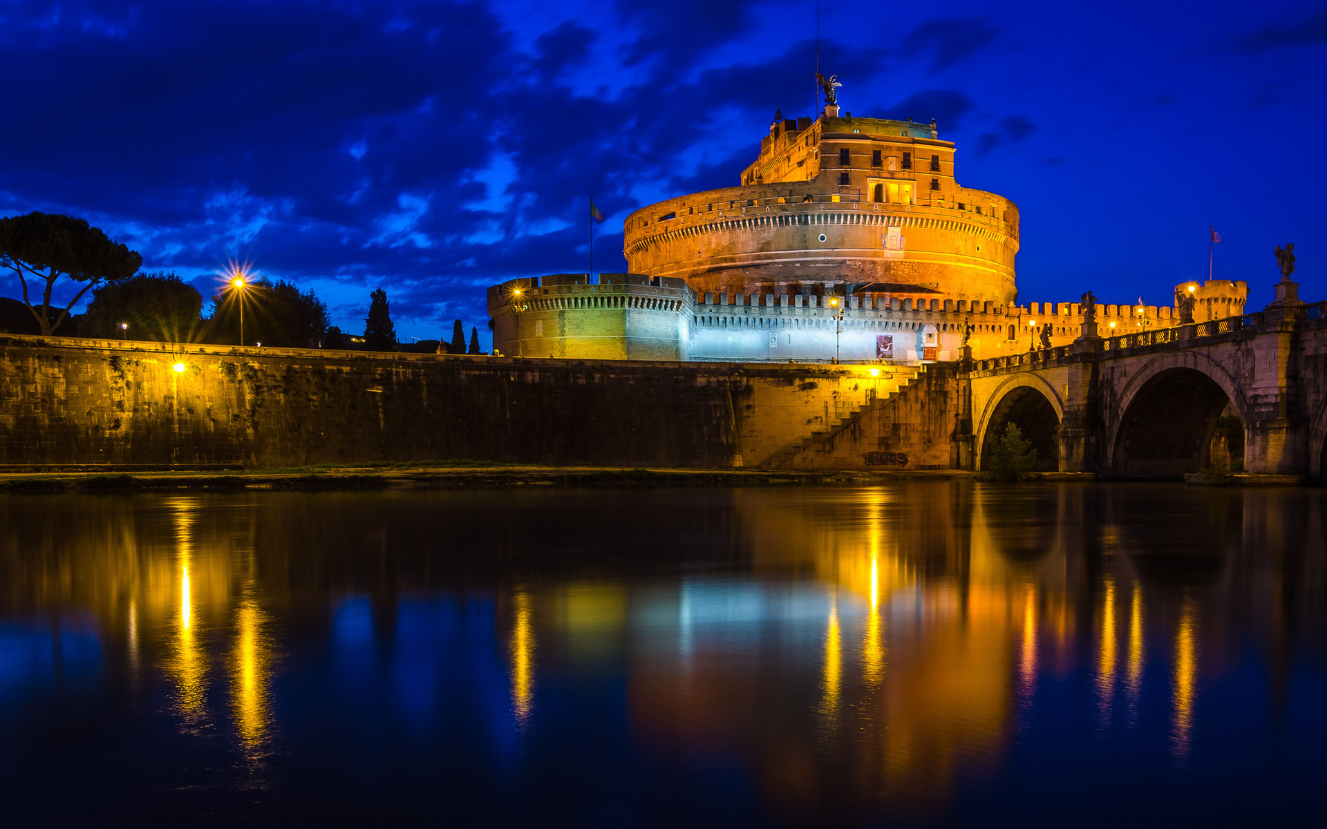 Castle-Sant-Angelo-Rome-on-the-night-Architecture-Awsome-HD-Download-for-iPad-wallpaper-wp3403768
