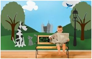 Cats-and-Dogs-abound-in-this-DIY-wall-mural-painting-kit-The-Paws-Park-Stencil-Kit-makes-it-ultra-e-wallpaper-wp3004217