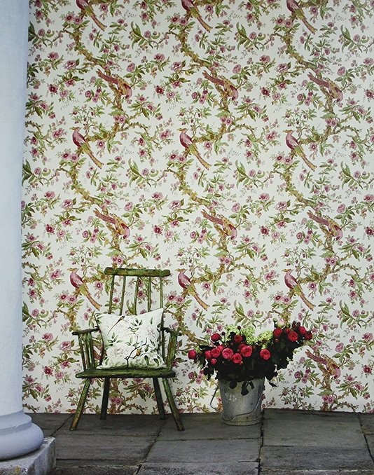 Chintz-A-printed-in-a-classic-chintz-design-of-flowing-branches-and-oriental-bir-wallpaper-wp3004343