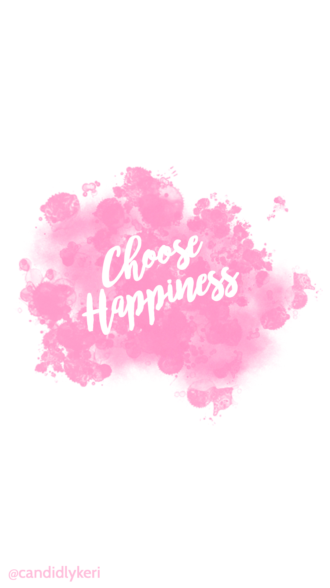 Choose-Happiness-quote-pink-splatter-paint-watercolor-with-black-and-white-flowers-free-do-wallpaper-wp3403889