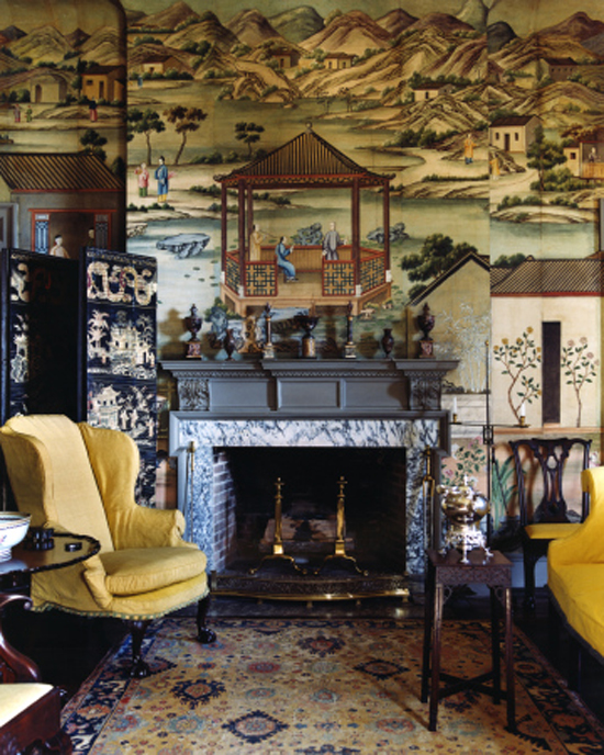 Cream-gold-and-blue-oriental-rug-Chinoiserie-wall-covering-yellow-wing-chair-wallpaper-wp5006328