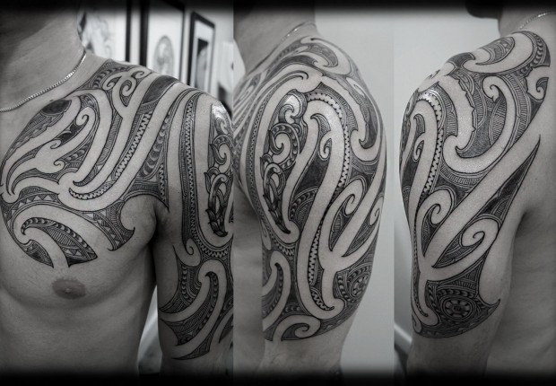 Custom-New-Zealand-Maori-Ta-Moko-Kirituhi-Pacific-Tribal-Half-Sleeve-with-Chest-Extension-Tattoo-Des-wallpaper-wp3004674