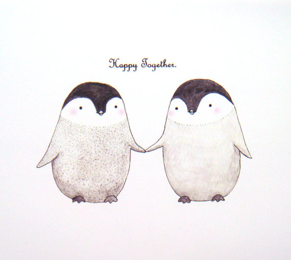 Cute-Penguin-Love-Original-Animal-Illustration-Print-by-mikaart-wallpaper-wp6002864