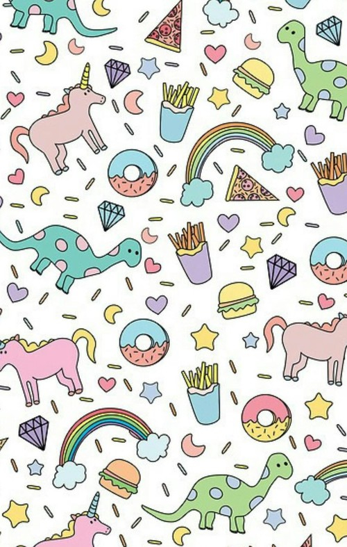 Cute-donut-unicorn-dinosaur-rainbow-french-fry-iphone-Background-cute-girly-fun-co-wallpaper-wp4406134