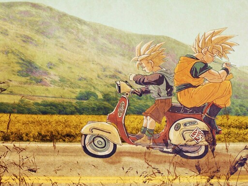 DBZ-father-and-son-eating-on-the-road-wallpaper-wp3604623