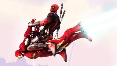 Deadpool-flying-on-Iron-Man-wallpaper-wp3604667