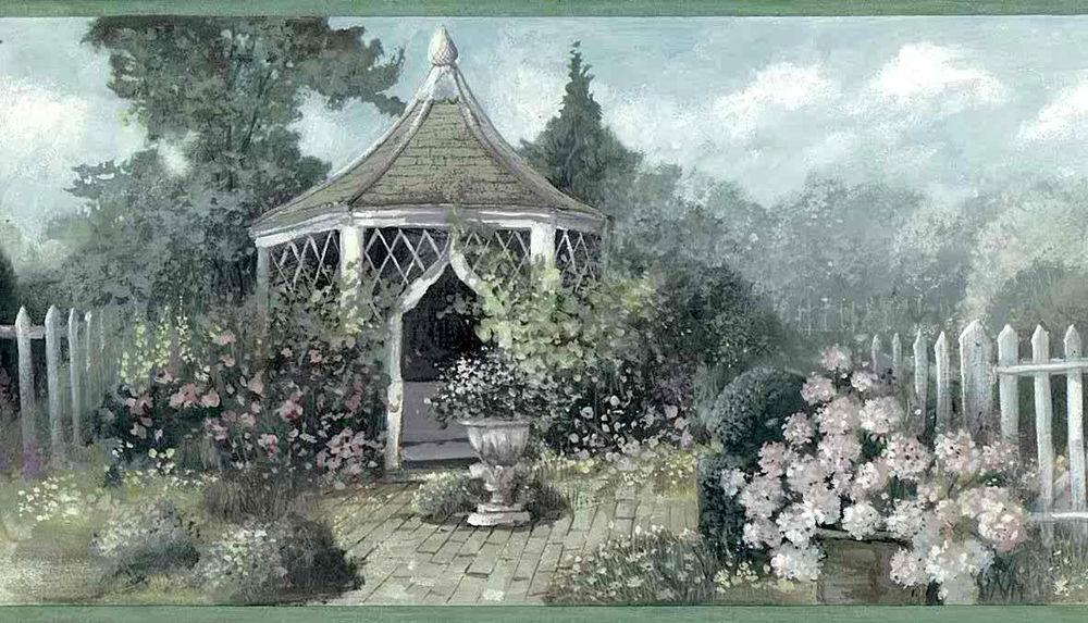 ENGLISH-GARDEN-Gazebo-Floral-Green-Blue-Pink-Border-Carefree-ZWB-Carefree-wallpaper-wp4406740