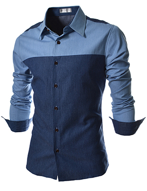 EVS-NAVY-Slim-Fit-Tone-Denim-Patched-Long-Sleeve-Shirts-wallpaper-wp52072